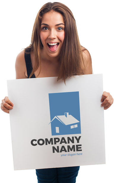 Excited lady holding a white sign with a company logo on it