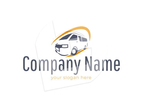 Staff transport shuttle minubus with orange swirl logo