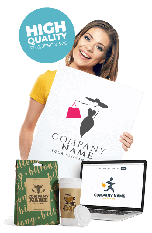 Smiling woman holding billboard with fashion logo laptop and coffee beef jerky mockup