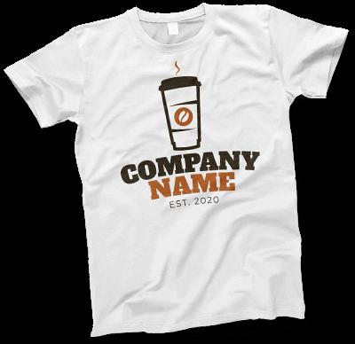 Coffee shop logo on white tshirt