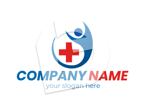 Blue and red medical cross logo