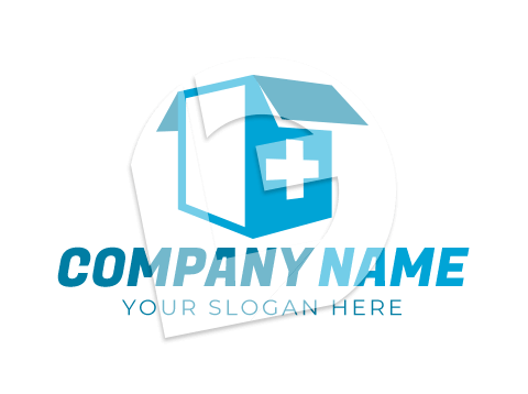 Medical supplies box and delivery logo