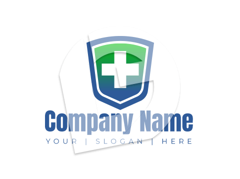 Shield and medical equipment logo