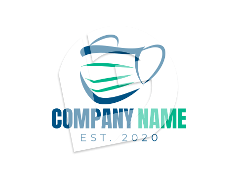 Blue and green medical mask logo template