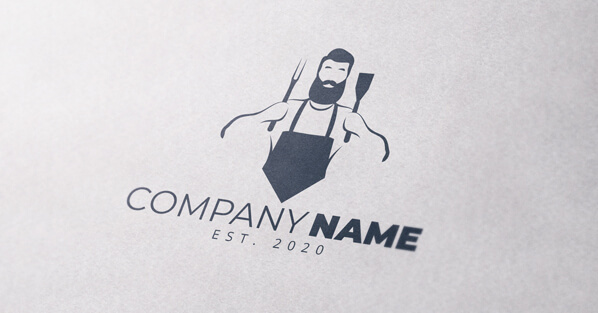 Spit roast and braai man with tongs logo mockup